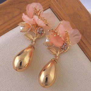 Pink Coral Delicate Flower Gold Teardrop Earrings
